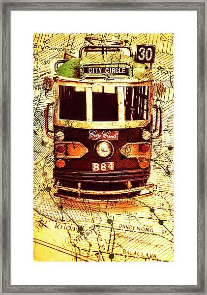 Australia Travel Tram Map Framed Print