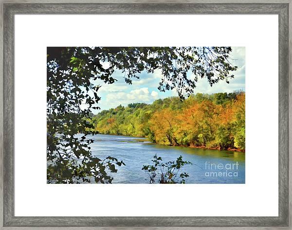 Autumn Along The New River - Bisset Park - Radford Virginia Framed Print