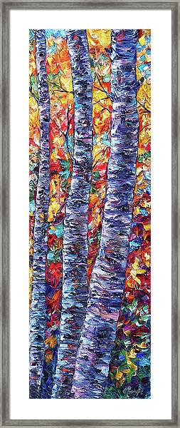 Autumn  Aspen Trees Contemporary Painting  Framed Print