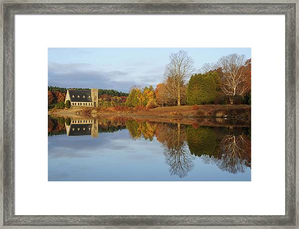 Autumn At The Old Stone Church Framed Print