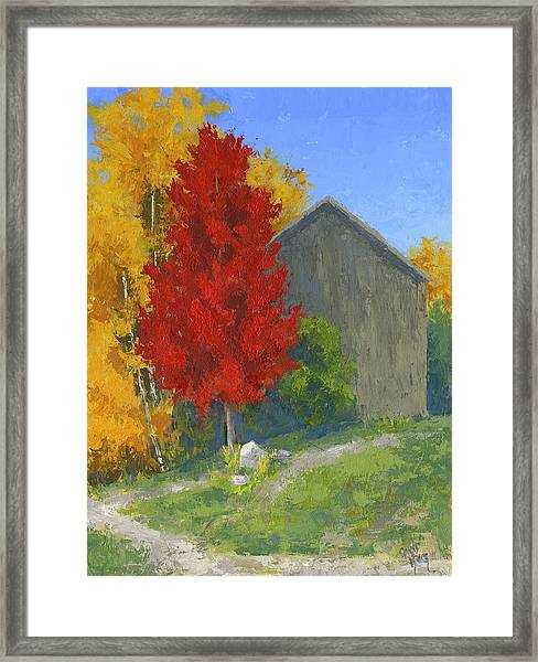 Autumn Barn Framed Print