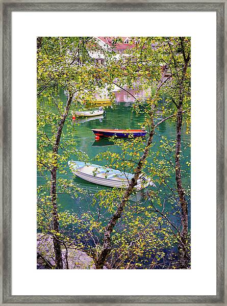 Autumn. Boats Framed Print