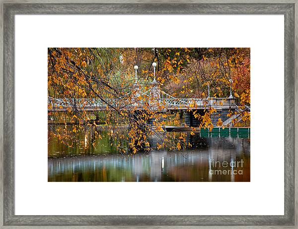 Framed Print featuring the photograph Autumn Bridge by Susan Cole Kelly