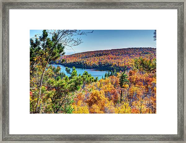 Autumn Colors Overlooking Lax Lake Tettegouche State Park II Framed Print