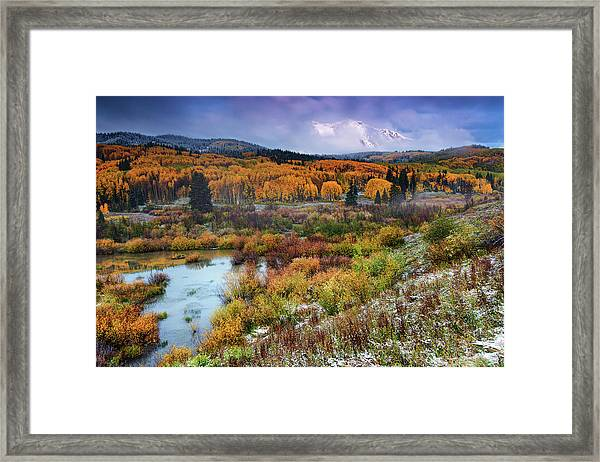 Framed Print featuring the photograph Autumn Dusting by John De Bord