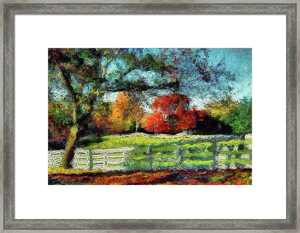 Autumn Field On The Farm Framed Print