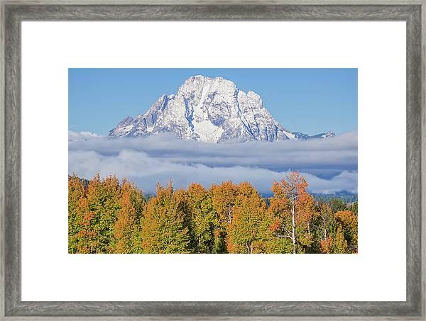 Autumn Fog Below Mt. Moran Framed Print