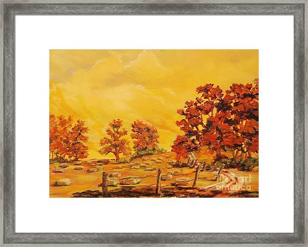 Autumn Haying Framed Print