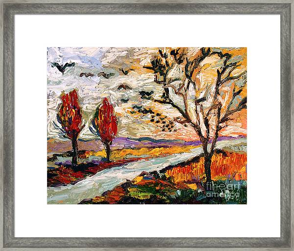Autumn Landscape Oil Painting Heading South Framed Print by Ginette Callaway