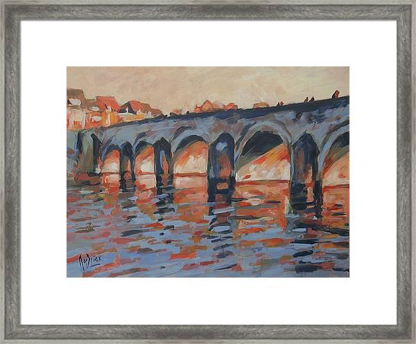Autumn Light Through The Saint Servaas Bridge Maastricht Framed Print