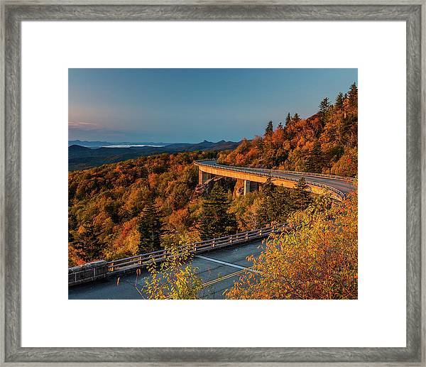 Morning Sun Light - Autumn Linn Cove Viaduct Fall Foliage Framed Print