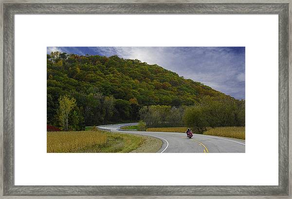 Framed Print featuring the photograph Autumn Motorcycle Rider / Red by Patti Deters