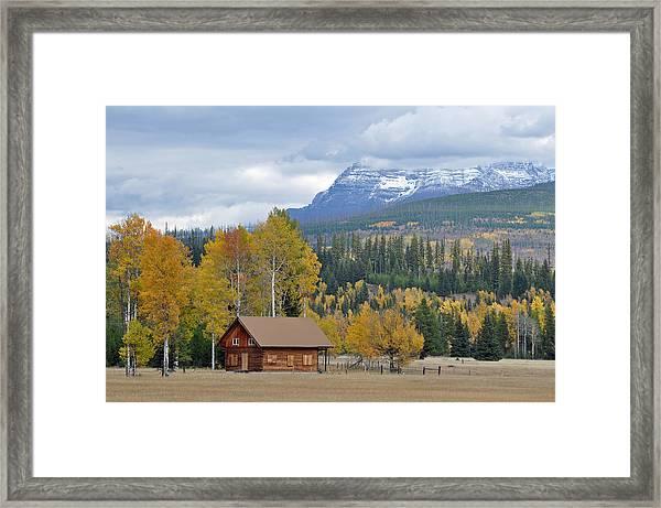 Autumn Mountain Cabin In Glacier Park Framed Print