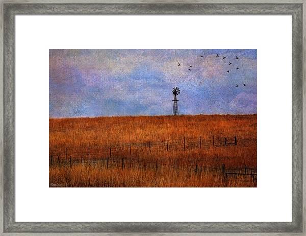 Autumn Prairie Windmill Framed Print