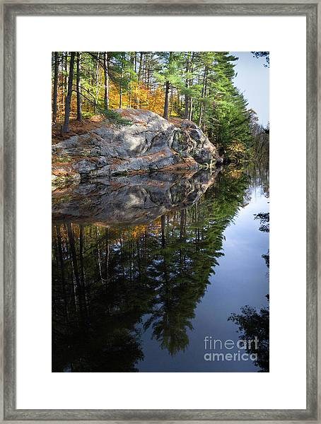 Autumn Reflections At Runaround Pond In Durham Maine  -20224 Framed Print