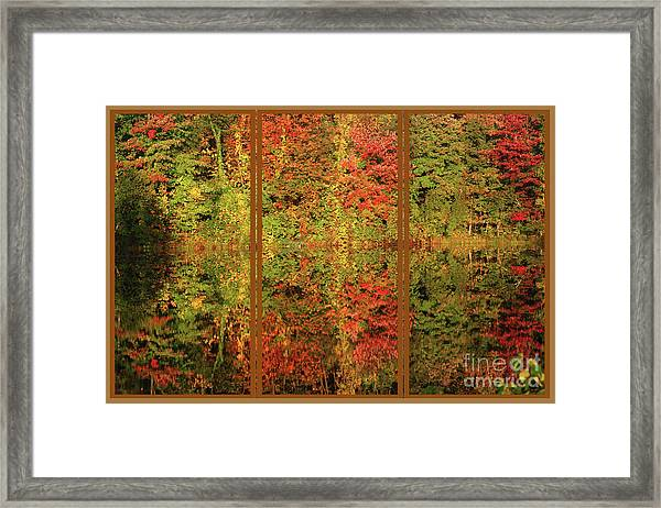 Autumn Reflections In A Window Framed Print