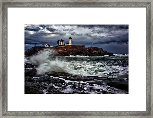 Autumn Storm At Cape Neddick Framed Print