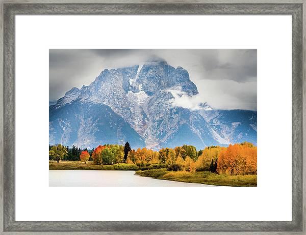 Autumn Storm Over Mount Moran Framed Print