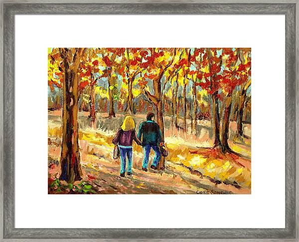 Autumn  Stroll On Mount Royal Framed Print