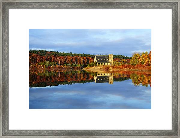 Autumn Sunrise At Wachusett Reservoir Framed Print