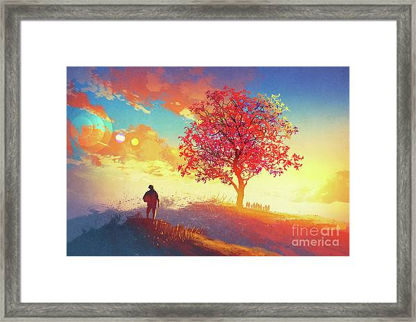 Framed Print featuring the painting Autumn Sunrise by Tithi Luadthong