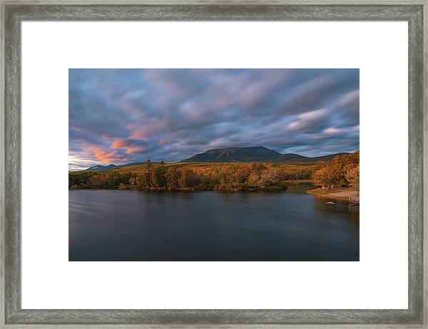Autumn Sunset At Mount Katahdin Framed Print