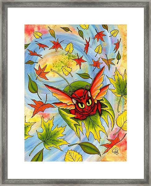 Autumn Winds Fairy Cat Framed Print