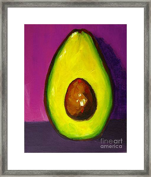 Avocado Modern Art, Kitchen Decor, Purple Background Framed Print