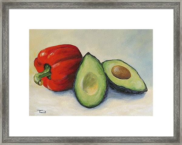 Avocado With Bell Pepper Framed Print