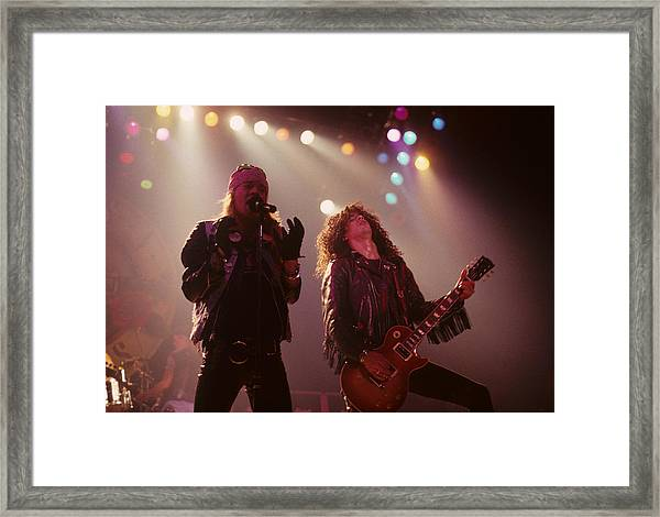 Axl Rose And Slash Framed Print