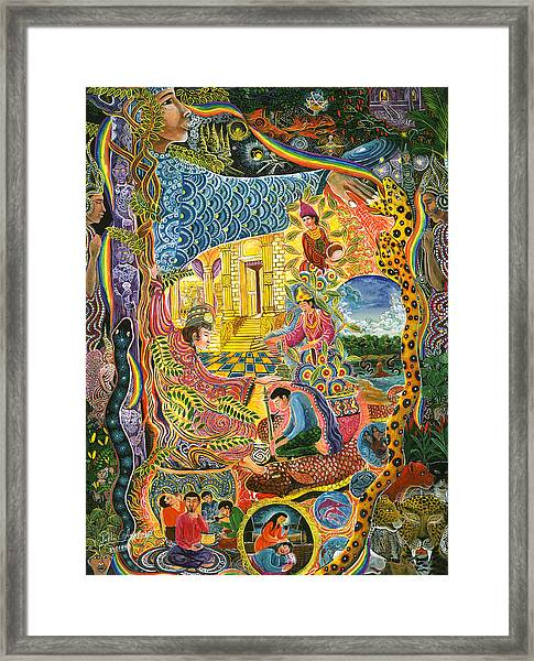 Framed Print featuring the painting Ayahuasca Chayana by Pablo Amaringo