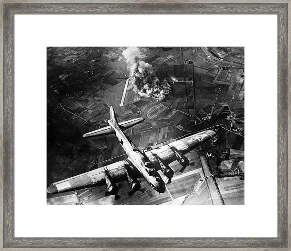 B-17 Bomber Over Germany  Framed Print