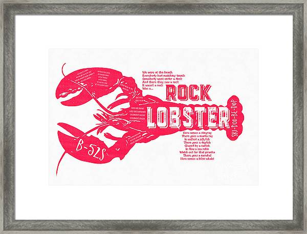 Framed Print featuring the drawing B-52s Rock Lobster Lyric Poster by Edward Fielding