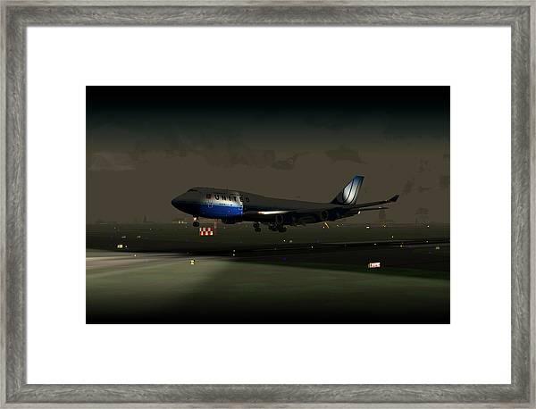 B747-400 Night Landing Framed Print