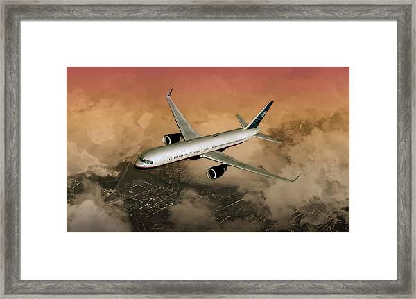 B757 Dawn Approach Framed Print