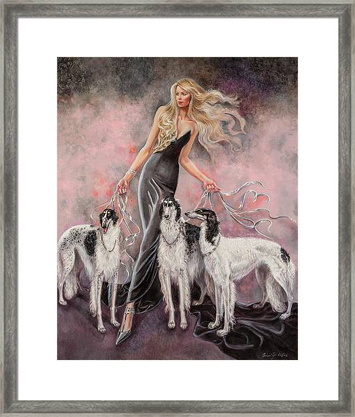 Babs With Three Borzois Framed Print by Barbara Tyler Ahlfield