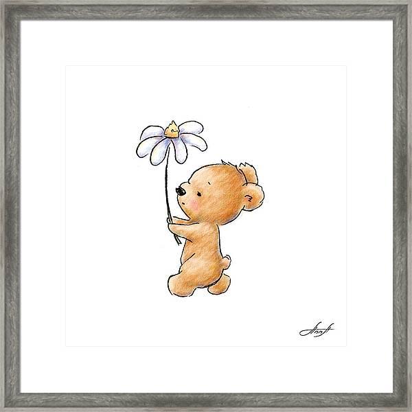 Baby Bear With Flower Framed Print