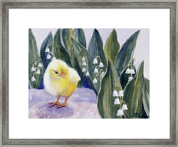 Baby Chick And Lily Of The Valley Flowers Framed Print