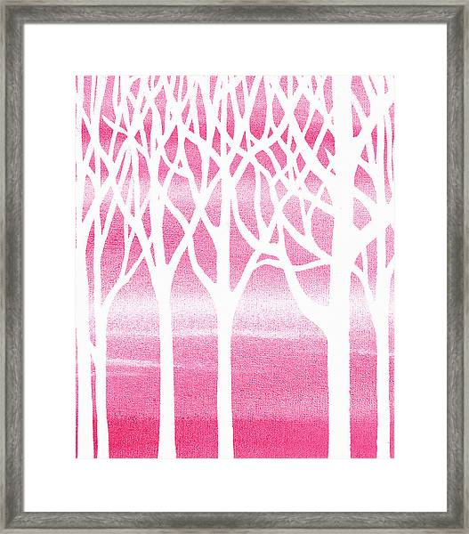 Baby Girl Room Pink Forest Framed Print