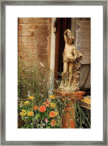 Bacchus Beckons Come In Framed Print
