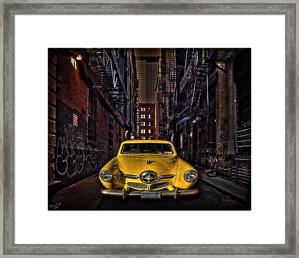 Back Alley Taxi Cab Framed Print
