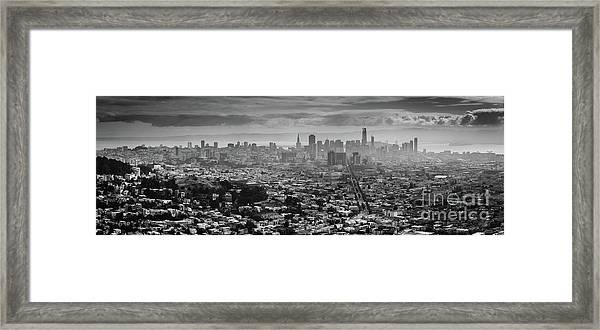 Back And White View Of Downtown San Francisco In A Foggy Day Framed Print
