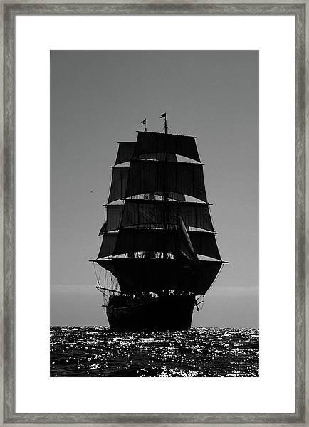 Back Lit Tall Ship Framed Print