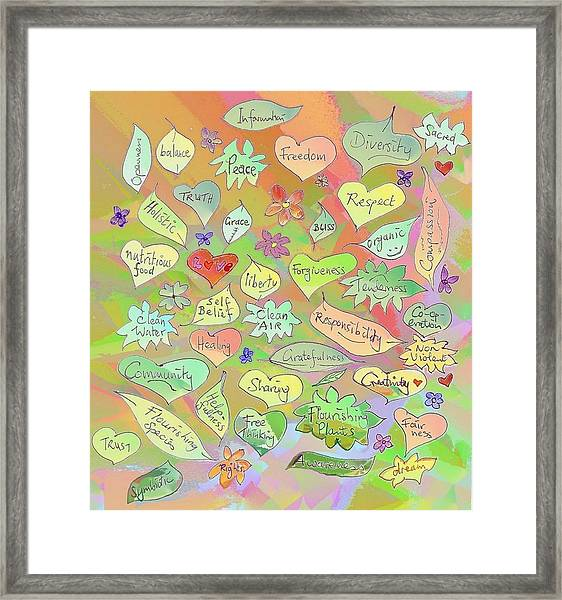 Back To The Garden Leaves, Hearts, Flowers, With Words Framed Print