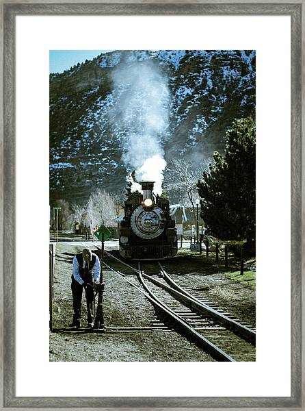 Framed Print featuring the photograph Backing Into The Station by Jason Coward