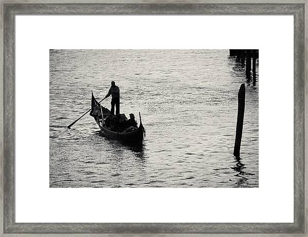 Backlit Gondola, Venice, Italy Framed Print