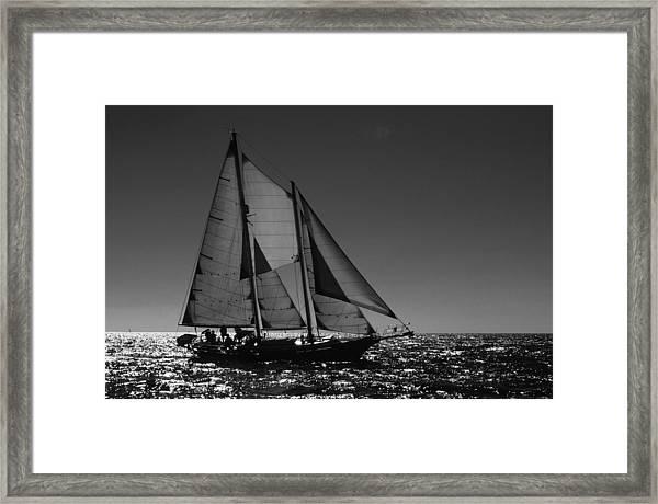 Backlit Schooner 2 Framed Print