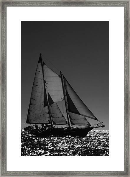 Backlite Schooner Framed Print