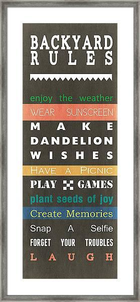 Backyard Rules Framed Print