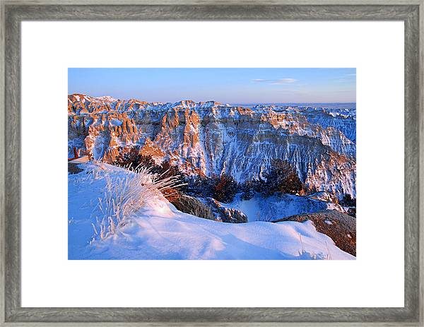 Badlands At Sunset Framed Print